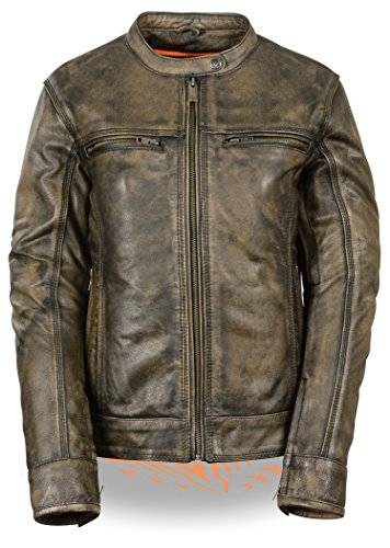 Milwaukee Leather Ladies Brown Distressed Scooter Jacket with Venting