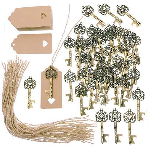 JZK 50 x Abrebotellas llave antigua con etiquetas kraft y cuerda de yute, llavero de bronce vintage para boda rústica regalos invitados fiesta favores detalles comunion recuerdo