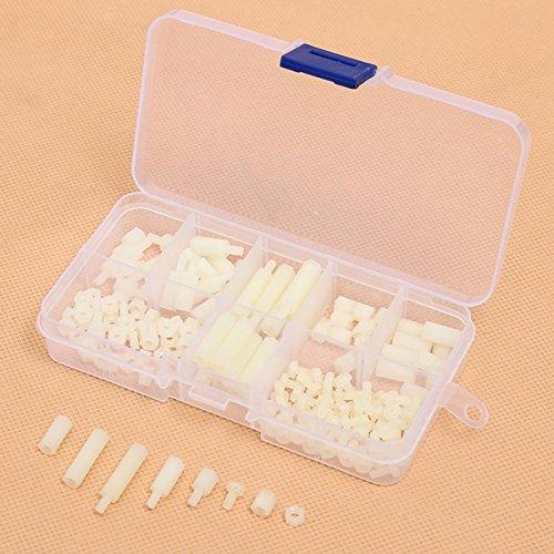 EsportsMJJ 160Pcs M3 Nylon Hex Entretoise Vis Écrou Kit Assortiment Ensemble En Plastique - Blanc