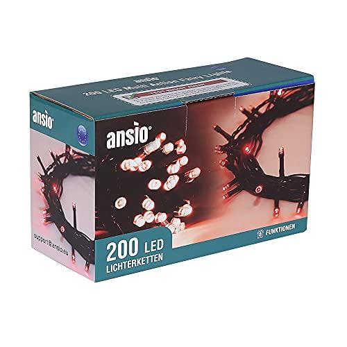 ANSIO® Luci Natale Esterno 20m 200 LED Luci Albero di Natale Natalizie Luminose Rosso Luci Natalizie da Esterno/Interno Ideale per Mantello, Balcone Lucine Luminoso | Cavo Verde