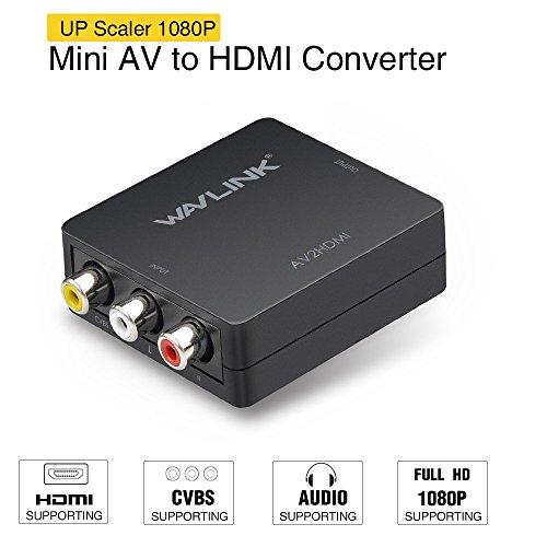 RCA a HDMI convertidor,Wavlink 1080p 3RCA a HDMI CVBS AV Compuesto Video Audio Adaptador con USB Charge Cable apoyar 1080P para PC Laptop Xbox PS4 PS3 TV STB VHS VCR Camera DVD [Negro]