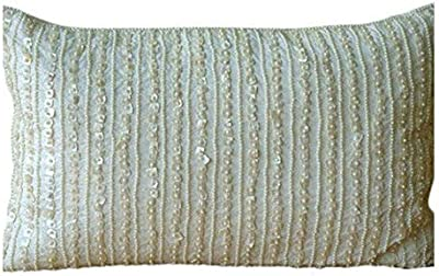 The Homecentric Designer Ivory Lumbar Pillow Cover Lined Mother Of Pearls Pillows Cover 12x16 Inch 30x40 Cm Lumbar Pillow Cover Rectangle Silk Lumbar Pillow Cover Contemporary Pearl Harbour Home