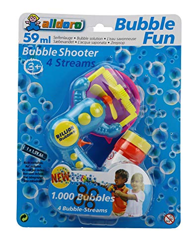 alldoro 4694 - Bubble Fun Propeller Seifenblasenmaschine mit 59 ml Seifenblasenflüssigkeit, elektrische Seifenblasen Pistole mit 4 Öffnungen, ca. 22 x 7 x 15 cm, für Kinder ab 3 Jahren
