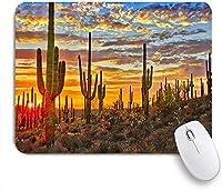 EILANNAマウスパッド フェニックス近くのソノラン砂漠のサボテンの夕日 ゲーミング オフィス最適 高級感 おしゃれ 防水 耐久性が良い 滑り止めゴム底 ゲーミングなど適用 用ノートブックコンピュータマウスマット