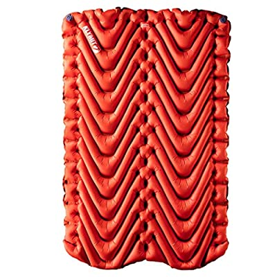 Klymit Insulated Double V Sleeping Pad, 2 Person, Double Wide (47 inches), Lightweight Comfort for Car Camping, Two Person Tents, Travel, and Backpacking