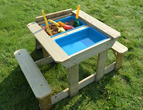 Wendi Toys Kinder Sand & Wasser Picknicktisch | Holz Spieltisch mit Deckel, 2 Spielwannen, Sitzbänken, Sandkasten | Kindertisch mit Stühle Draußen | Garten Outdoor Aktivität Set für 3-7 Jahre