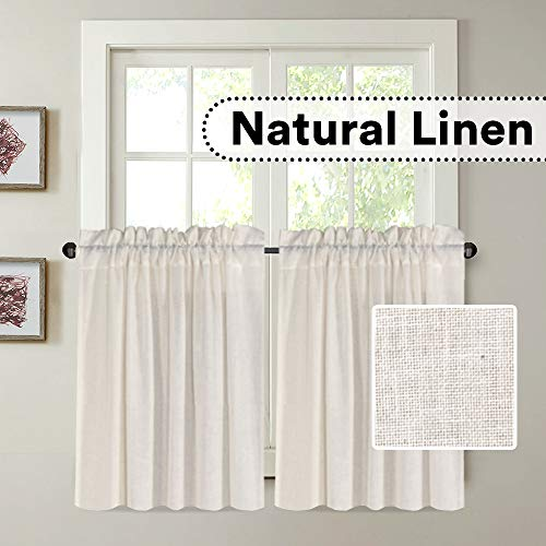 H.VERSAILTEX Natural Linen Kitchen Curtains 24 Inch Length Textured Flax Curtain Tiers for Bathroom/Kitchen Windows Rod Pocket Small Curtains for Kitchen (2 Panels, Natural)