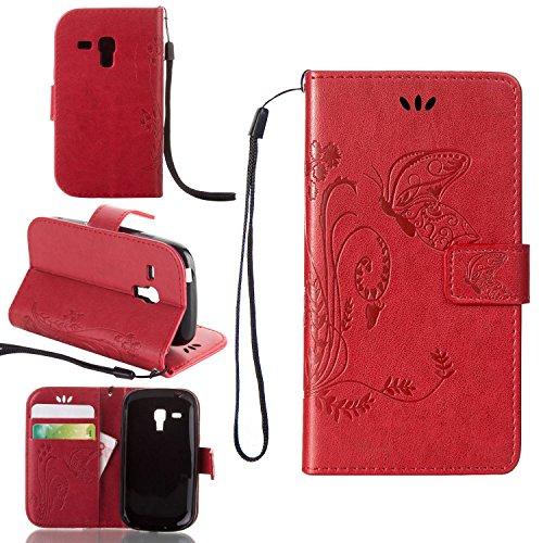Guran® Custodia in Pu Pelle Flip Cover per Samsung Galaxy S3 Mini (i8190) Smartphone Avere Portafoglio e Funzione Stent Modello Embossato di Farfalla Copertura Protettiva - Rosso