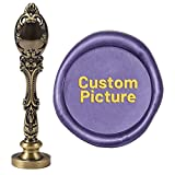 CRASPIRE Custom Wax Seal Stamp Personalized Name Picture Logo Your Own Customized Sealing Wax Stamp 2.5cm with Vintage Peacock Metal Handle for Wedding Invitation Gifts Cards (Bronze)