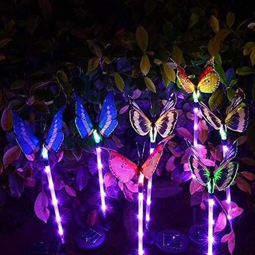 QULONG Garden Solar Lights Outdoor, Butterfly Solar Power LED Light Outdoor Garden Lawn Decor Fairy Light, Solar Stake Light with Waterproof Fiber Optic Butterfly Decorative Lights