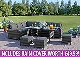 Abreo 9 Seater Corner Rattan Dining Set Garden Sofa Furniture Black Brown Grey (Dark Mix Grey and Dark Cushions)