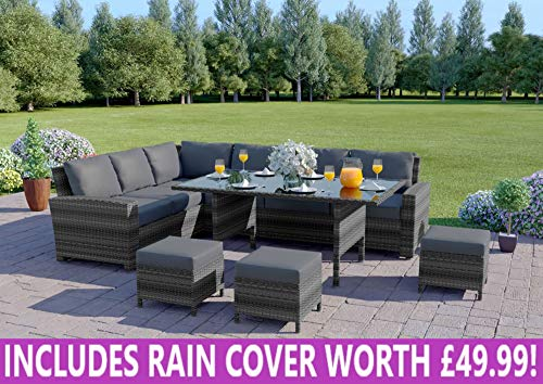 Abreo Rattan Dining Set Furniture Garden Corner 9 Seater Black Brown Dark Mixed Grey (Dark Mixed Grey With Dark Cushions) INCLUDES OUTDOOR COVER
