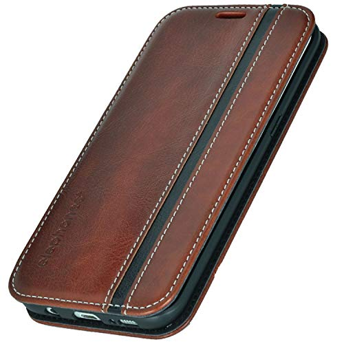 elephones® Handyhülle für Samsung Galaxy S7 Edge Hülle - Kompatibel mit Galaxy S7 Edge Schutzhülle Handy-Tasche Flip Case Cover Braun/Schwarz