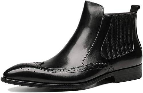 botas para Hombre Brogue Chelsea botas Altas con Puntera En Los Pies Botines Vintage De Negocios Motocicleta De Cuero Genuino botas Martin
