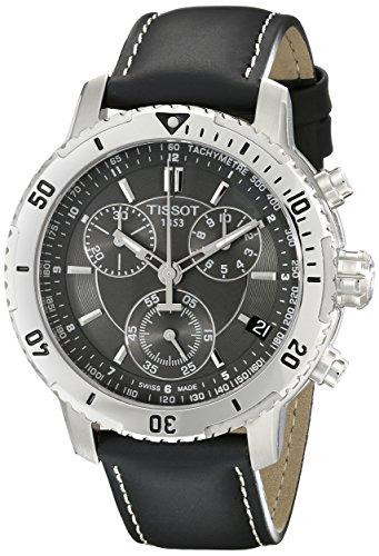 Tissot T0674171605100 - Reloj cronógrafo de caballero de cuarzo con correa de piel negra
