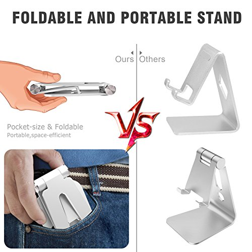 Quirkio Slim Cell Phone Stand Bundle | Desktop Cradle Phone Holder + Free Phone Ring + Pouch - Foldable, Multi-Angle 360° Rotating Phone Cradle | Fits Any Android/iPhone Smartphone & Tablet