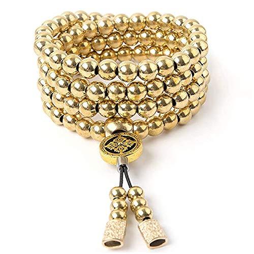 HEXL Cadena de Collar de 108 Cuentas de Buda de autodefensa al Aire Libre, Pulsera de Mano de Acero Completo para Hombres (Color : Gold)