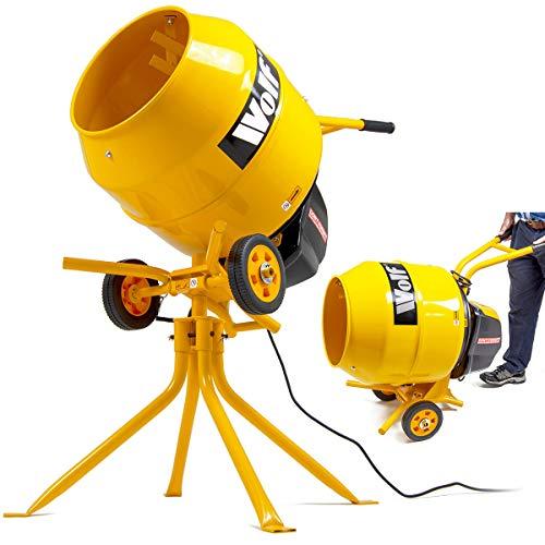 Wolf 550w Electric Cement Mixer 135L Drum Portable Concrete Mortar Double...