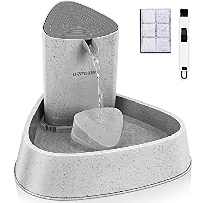 URPOWER Pet Fountain, Upgraded Automatic Cat Fountain Dog Water Fountain Cat Water Dispenser, Adjustable Water Flow Setting Drinking Fountain Cat Bowl for Cats, Dogs, Pets(Gray)