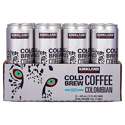 KIRKLAND SIGNATURE Signature Cold Brew Colombian Coffee 12 Cans /11 Fl Ounce Net Wt 132 Fl Ounce