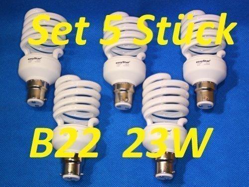 5 x 23 Watt Energiesparlampe Spirale Twist B22 Sockel, 23W entspricht 120 Watt, warmweiss 5-teilig