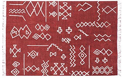 Vivense Mats - Alfombra Kilim para Dormitorio, salón, Pasillo, Cocina, Granate, 80 x 150 cm