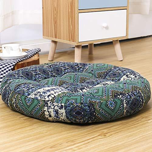 YALLEYA - Cojín de suelo de algodón y lino estilo étnico para meditación, yoga, cojín decorativo para sala de estar, sofá, balcón, dormitorio, fiesta al aire libre, 56 x 56 cm