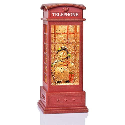 YQing Schneelaterne mit Schneemann LED Weihnachtsdeko, Musik Schneekugel mit Schneewirbel Weihnachten Glaskugellaterne USB-oder Batteriebetriebene Glitzer Laterne für Innen, Zuhause