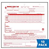 Mid-Size Driver Daily Log 10-pk. with Simplified Driver Vehicle Inspection Report - Shrinkwrapped Loose-Leaf Format, 2-Ply Carbonless, 8.5' x 8.25', 31 Sets of Forms Per Unit - J. J. Keller