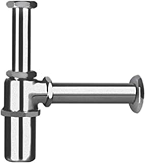 Hindware Addons 32mm Economy Model Bottle Trap with 190mm and 250mm Long with Wall Connection Pipe and Wall Flange (Chrome)