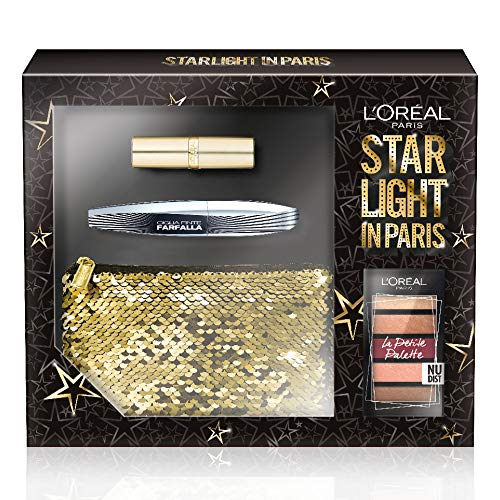 L'Oréal Paris Cofanetto Idea Regalo, Mascara Ciglia Finte Farfalla, Petite Palette Ombretti Nudist, Rossetto Color Riche 226, Pochette 3 Pezzi