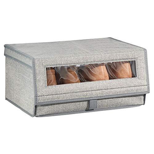 mDesign Caja para zapatos de tela (grande) – Cajas apilables con ventana, cierre de velcro y tapa abatible – Prácticas cajas organizadoras para armarios y estanterías – gris