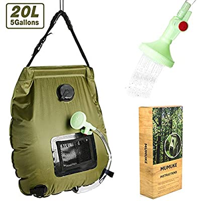 Portable Outdoor Solar Shower Bag5 Gallons/20L HeatingCamp Shower Bag with Removable Hose and On-Off Switchable Shower Head for Camping Traveling Hiking Beach Swimming Summer