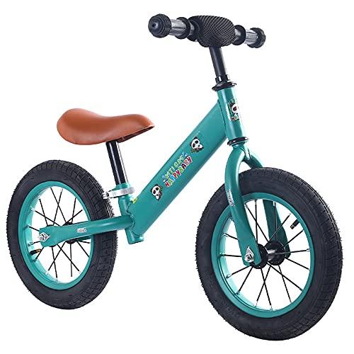 Bicicleta De Equilibrio Para Niños, 12 Pulgadas (Aproximadamente 30,5 Cm) Sin Pedales, Bicicleta De Entrenamiento Para Niños De 18 Meses A 6 Años, Neumáticos Macizos Y Asa Giratoria De 360 °,Verde