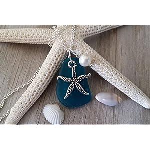 Handmade in Hawaii, teal blue sea glass necklace,starfish charm,Freshwater pearl, (Hawaii Gift Wrapped, Customizable…