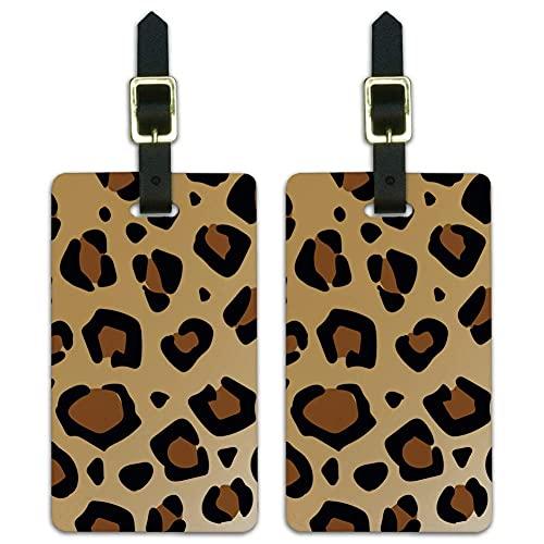 Etiquetas de identificación de animales con estampado de leopardo para maleta, juego de 2