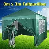 Yiyai Pop-up Pavillon 3x3m Wasserdicht und UV-Schutz 50+ Faltbarer Festival Gartenpavillon mit 4 Seitenteilen für BBQ, Camping, Wandern