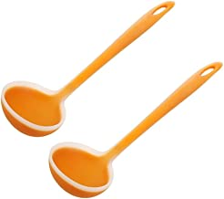 Gravy Soup Spoon Premium Silicone Ladle,2-piece Set Ladle Spoon, Cooking Utensil for Serving Soup & More (yellow) Soup Ladle