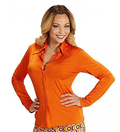 shoperama 70er Jahre Retro Damen Bluse mit und ohne Muster Disco Kostüm Siebziger Oberteil Shirt, Größe:L/XL, Farbe:Orange