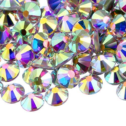 WILLBOND 1440 Pack Hot Fix AB Crystals Flatback Hotfix Rhinestones Round Gems Glass Stones (4MM, Crystal)