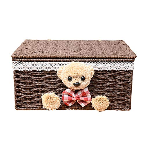 Cotton Rope Woven Storage Basket, Dirty Clothes Storage Basket with Lid and Lining Desktop Storage Basket (Color : B)