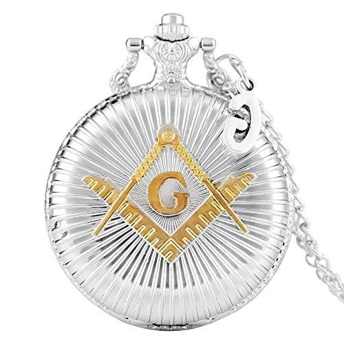 Elegante reloj de bolsillo de plata para hombres, delicado patrón de masones con accesorios de reloj de bolsillo G para amigos, reloj colgante de cadena delgada y duradera para mujeres, relojes d