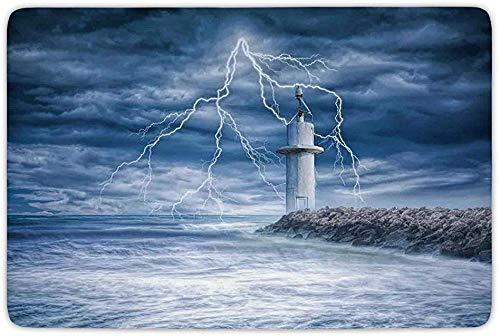 Mosd Fußmatten Badezimmer Badewanne Teppich Küche Bodenmatte Teppich, Leuchtturm Dekor, Leuchtturm Gewitter Turbulenter Wind Stimmungsvolles Wetter Dramatischer Himmel Szene
