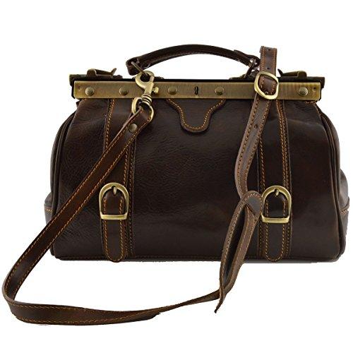 Echtes Leder Doktortasche, 2 Schnallen Farbe Dunkelbraun - Italienische Lederwaren - Aktentasche