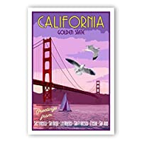 CALIFORNIA TRAVEL POSTER postcard set of 20 identical postcards. CA state vintage style travel poster post cards. Made in USA. [並行輸入品]