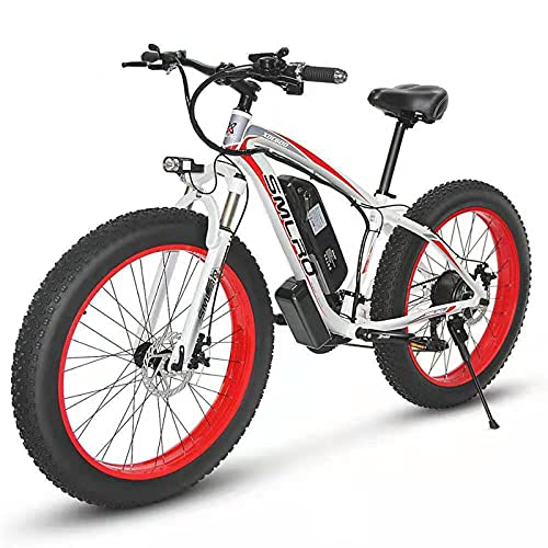 ZOSUO Herren E-Bike Elektrofahrrad Alu 26 Zoll Mit Shimano 7-Gang-Getriebe Pedelec Trekkingrad Mit Motor 1000W 48V15AH Akku Lithium-Schneemobil Strandfahrrad,Rot