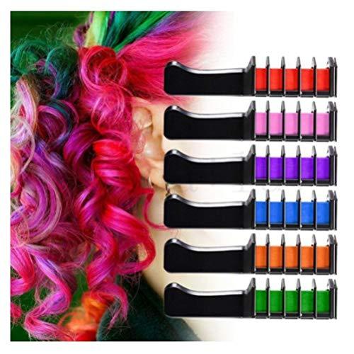 Excras temporärer Haarkreide-Kamm, ungiftig, waschbar, Haarfarbe, Kamm, für Kinder, Party, Cosplay, DIY (6 Farben)