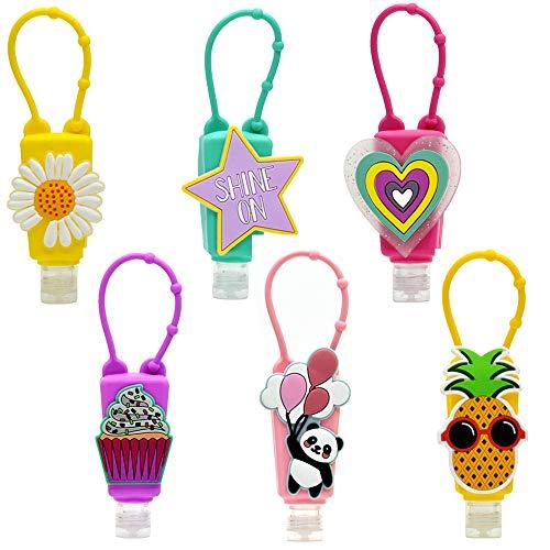 kids Hand Sanitizer Holder Keychain,6 Pack,1oz,kids travel size bottle for boy and girl backpack(6 Pack Squeeze Bottle)