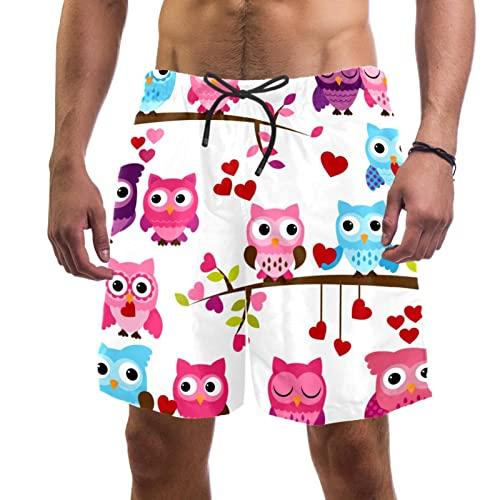 Haminaya Bañador para Hombre Búhos Rosados Azules Trajes De Baño Secado Rápido Bañadores De Natación Impresión Swim Trunks Short De Playa para Piscina Surf Playa XL