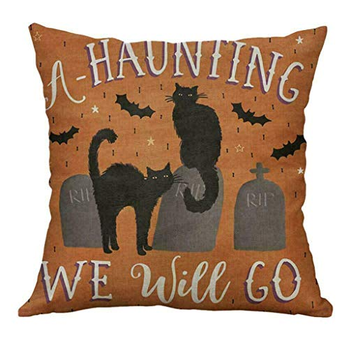 FeatureHalloween Pumpkin Throw Pillow Cover Pillowcases Decorative Sofa Cushion, Pillow Case for Halloween Day (D)